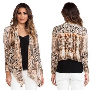 Cynthia Vincent Leopard Silk Drape Front Jacket